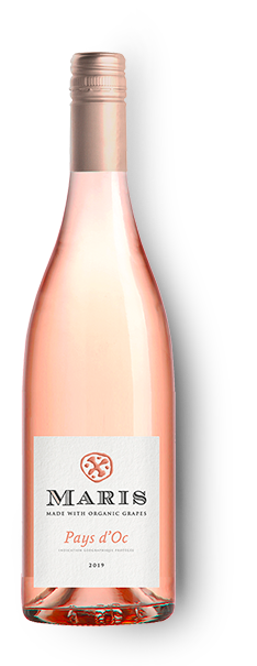 Bottle of Pays d'Oc rosé wine